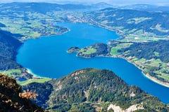 Mondsee-Seeblick von Schafberg Ober?sterreich lizenzfreie stockbilder