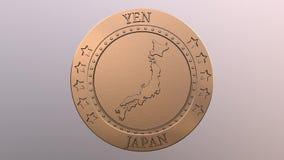 Moneda abstracta de los yenes de oro stock de ilustración