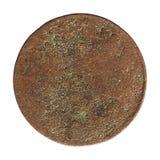 Moneda aherrumbrada antigua aislada sobre blanco Imagenes de archivo