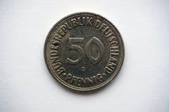 Moneda alemana vieja 50 pfennigs Imagenes de archivo