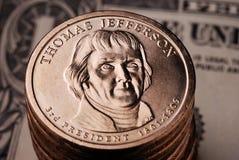 Moneda americana del dólar Foto de archivo libre de regalías