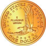 Moneda americana del dólar del oro del dinero con el águila Imagen de archivo libre de regalías