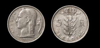 Moneda antigua de 5 francos imagen de archivo