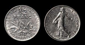 Moneda antigua del franco del 1/2 fotos de archivo