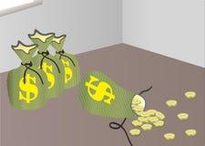 Moneda asperjada en el conrner y las monedas olvidadas Imagen de archivo