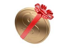 Moneda atada con la cinta roja Imagen de archivo libre de regalías