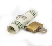 Moneda bloqueada del concepto de las finanzas Fotografía de archivo