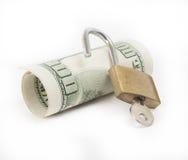 Moneda bloqueada del concepto de las finanzas Foto de archivo