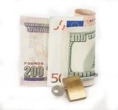 Moneda bloqueada del concepto de las finanzas Foto de archivo libre de regalías