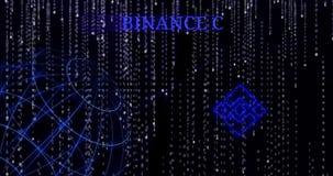 Moneda BNBsymbol de Binance que brilla intensamente contra los símbolos descendentes del código binario almacen de video