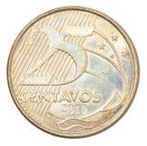 Moneda brasileña de los centavos Imagen de archivo libre de regalías