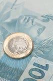 Moneda brasileña - real Fotografía de archivo libre de regalías