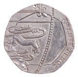 moneda británica de 20 peniques Foto de archivo libre de regalías