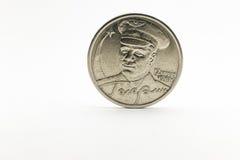 Moneda conmemorativa con la imagen de Yuri Gagarin Foto de archivo