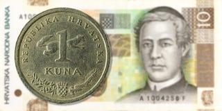1 moneda croata del kuna contra anverso del billete de banco del kuna de 10 croatas imágenes de archivo libres de regalías