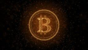 Moneda Crypto Bitcoin de partículas luminosas Fondo 3D ilustración del vector
