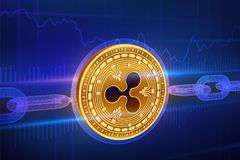 Moneda Crypto Cadena de bloque ondulación moneda de oro física isométrica de la ondulación 3D con la cadena del wireframe Concept Imagen de archivo libre de regalías