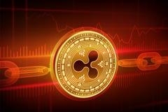 Moneda Crypto Cadena de bloque ondulación moneda de oro física isométrica de la ondulación 3D con la cadena del wireframe Concept Imágenes de archivo libres de regalías