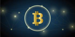 Moneda crypto de la red grande del bitcoin de Digitaces libre illustration