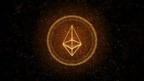 Moneda Crypto Ethereum de partículas luminosas Fondo 3D libre illustration