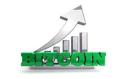 Moneda de BITCOIN Blockchain - aumento en valor Fotografía de archivo