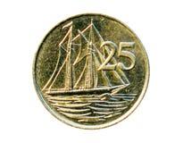 Moneda de 25 centavos (goleta de dos palos del caimán) Banco del caimán Islan Fotos de archivo libres de regalías