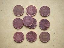 moneda de 5 centavos, unión europea, Italia Foto de archivo