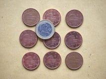 moneda de 5 centavos, unión europea, Italia Imágenes de archivo libres de regalías
