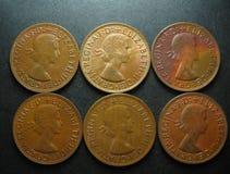 Moneda de cobre del penique pre-decimal del australiano uno del vintage Foto de archivo
