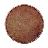 Moneda de cobre en blanco Foto de archivo