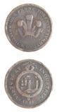 Moneda de cobre escasa simbólica 1811 del penique de Gran Bretaña Imagen de archivo