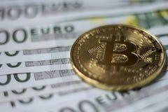 Moneda de Cryptocurrency Bitcoin Imágenes de archivo libres de regalías