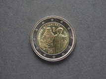 Moneda de Dante Alighieri Euro de Italia Foto de archivo