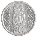 Moneda de 20 de Nueva Zelanda centavos del dólar Imagen de archivo