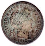 Moneda de diez centavos 1912 del Mercury Fotos de archivo libres de regalías