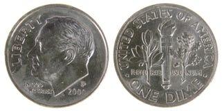 Moneda de diez centavos de los E.E.U.U. Fotos de archivo libres de regalías