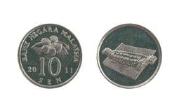 Moneda de diez centavos de Malasia Imagen de archivo libre de regalías