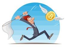 Moneda de Digitaces Hombre divertido que intenta coger el bitcoin Foto de archivo libre de regalías