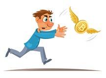 Moneda de Digitaces Hombre de la historieta que intenta coger el bitcoin Foto de archivo