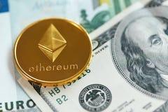 Moneda de Ethereum con cierre del efectivo para arriba imagen de archivo libre de regalías