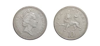 Moneda de Gran Bretaña 10 peniques Imagen de archivo