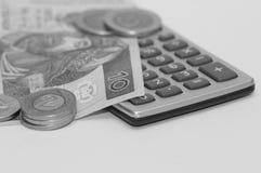 Moneda de la calculadora y del pulimento Imagen de archivo
