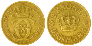2 moneda de la corona 1925 aislada en el fondo blanco, Dinamarca Fotografía de archivo libre de regalías