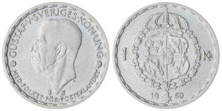 1 moneda de la corona 1950 aislada en el fondo blanco, Suecia Fotos de archivo libres de regalías