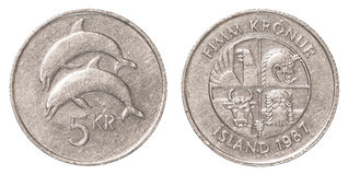 moneda de la corona islandesa 5 Imagen de archivo libre de regalías