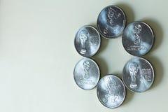Moneda de la edición especial de RUSIA 2018 del MUNDIAL de la FIFA de 25 rublos de valor Imágenes de archivo libres de regalías