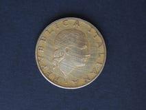 Moneda de la ITL de la lira italiana, moneda de Italia las TIC Imágenes de archivo libres de regalías