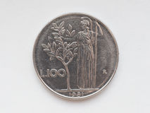 Moneda de la lira italiana Imágenes de archivo libres de regalías