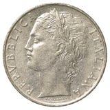 moneda de la lira italiana 100 Imágenes de archivo libres de regalías