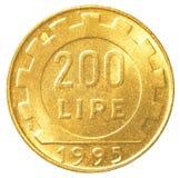 moneda de la lira italiana 200 Imagen de archivo libre de regalías